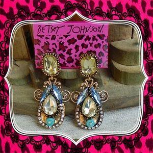 Betsey Johnson Rhinestone Crystal Retro Earrings